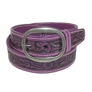 CTM® Leather Western Embossed Belt with Removable Buckle