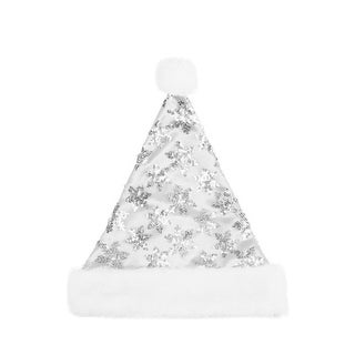 "14"" White & Silver Sequin Snowflake Christmas Santa Hat with White Faux Fur Brim - Medium Adult Size"