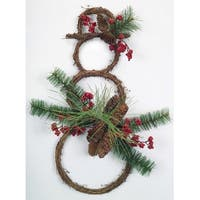 """23.5"""" Grapevine Snowman with Twigs, Berries, Pinecones and Pine Needles Christmas Decoration"""