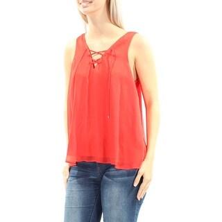 RACHEL ROY $69 Womens New 1158 Red Tie V Neck Sleeveless Casual Top S B+B