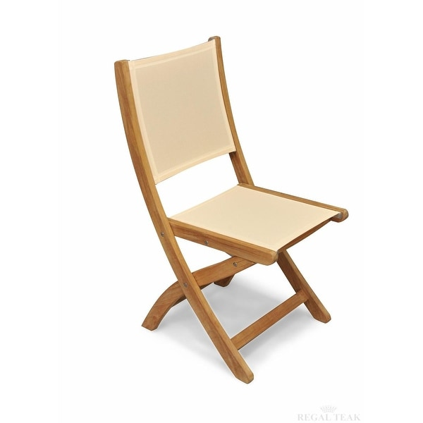 Set Of 2 Natural Teak Outdoor Patio Folding Dining Chairs With Cream  Batyline Fabric   Brown