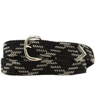 M&F Western Belt Mens Leather Braid Arrow Tip Black Gray