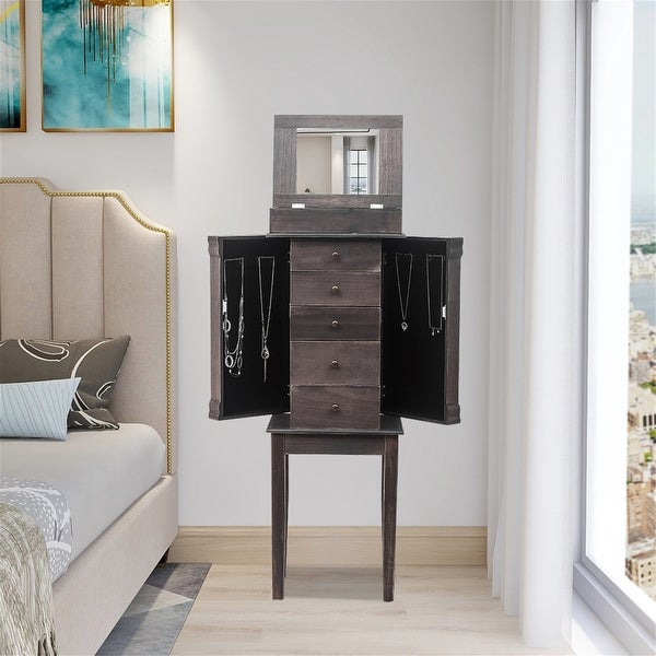Standing Jewelry Armoire with Mirror, 5 Drawers & 8 Necklace Hooks. Opens flyout.