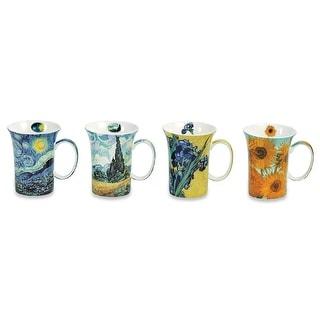 Van Gogh Coffee Mugs in Gift Box - Bone China - 10 oz Cups - Set of 4 - Multi