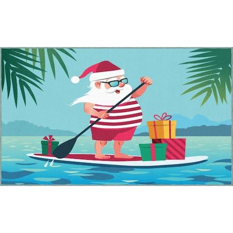 Mohawk Prismatic Paddleboard Santa Area Rug