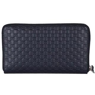 "Gucci 391465 XL Micro GG Blue Leather Zip Around Travel Wallet Clutch - 8"" x 4.5"""