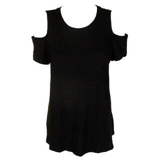 Style & Co Black Cotton Cold-Shoulder T-Shirt XXL