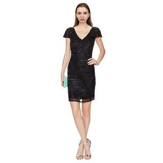 Theia Beaded V-Neck Flutter Sleeve LBD Cocktail Dress Black