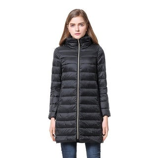 Cicel Girl Womens Down Jacket Hooded Light Weight Long Overcoat Winter Coat Black Small