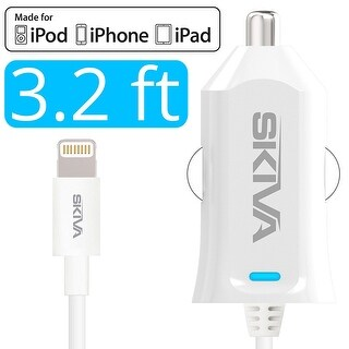 Skiva PowerFlow (2.4 Amps / 12 Watts) Fastest Car Charger with Integrated 3.2 Foot Lightning Cable for iPhone X 8 8+ 7 6s Plus