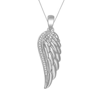 10K White Gold Angel Wing Pendant and Necklace Set 0.06ctw by Midwest Jewellery