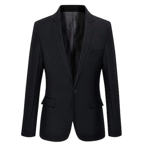 Mens Slim Fit Casual One Button Blazer Jacket (303, Black 303, Size Medium