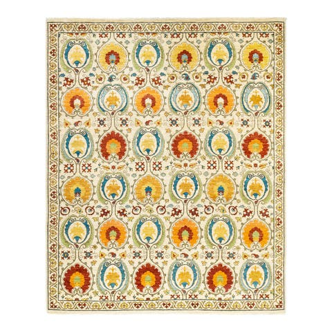 """Suzani, One-of-a-Kind Hand-Knotted Area Rug - Ivory, 8' 3"""" x 10' 1"""" - 8' 3"""" x 10' 1"""""""