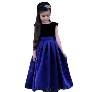 Little Girls Navy Blue Satin Velvet Amelia Christmas Dress
