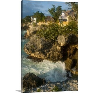 """Caves Hotel cottages on West End cliffs seen from Negril Point Lighthouse"" Canvas Wall Art"