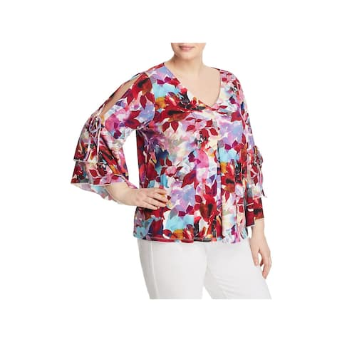 Cupio Womens Plus Blouse Floral Cold Shoulder