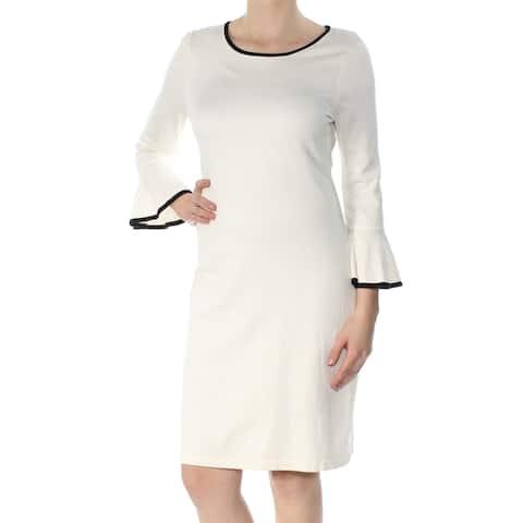7bbbb36e5eb CALVIN KLEIN Womens Ivory Sweater Bell Sleeve Jewel Neck Knee Length Sheath  Wear To Work Dress