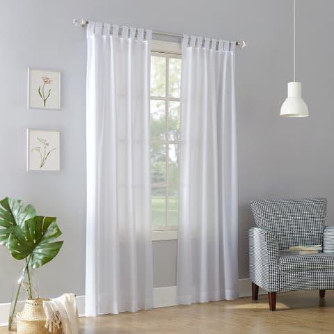 No. 918 Jacob Heathered Texture Semi-Sheer Tab Top Curtain Panel, Single Panel