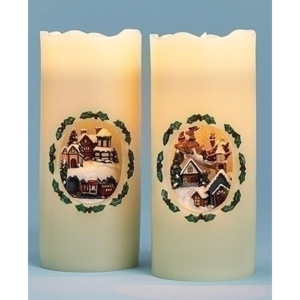 """7"""" Battery Operated LED Lighted Santa's Sleigh Decorative Christmas Pillar Candle - WHITE"""