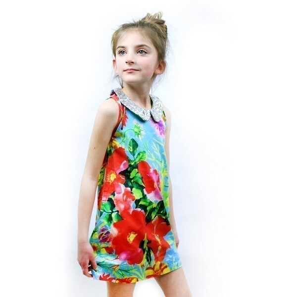 cea616669 Shop Sophie Catalou Little Girls Ice Blue Red Floral St. Tropez Shift Dress  - Free Shipping Today - Overstock - 18165235