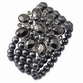 Black IP Black & Hematite Acrylic Beads Stretch Bracelet