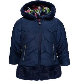 London Fog Girls 2T-4T Faux Fur Satin Jacket