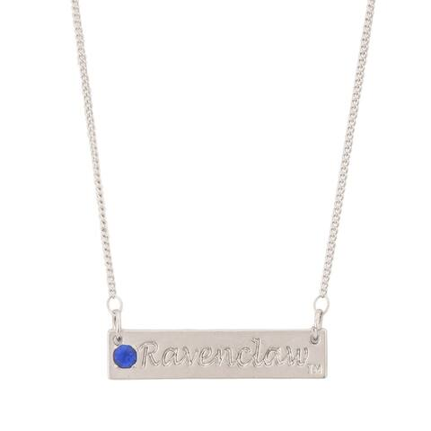 Harry Potter Ravenclaw Script Bar Necklace with Stone