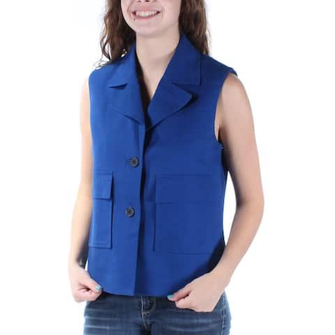 ANNE KLEIN Womens Blue Sleeveless Collared Vest Wear To Work Top Size: 2