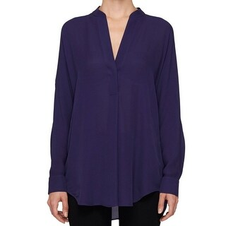 Vince NEW Eggplant Purple Womens Size XS Half Placket Silk Blouse