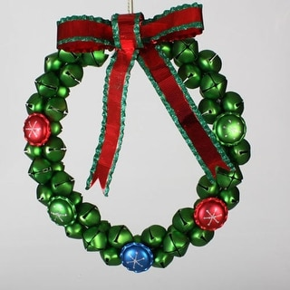"""14.5"""" Christmas Brights Green Jingle Bell Wreath with Red Bow"""