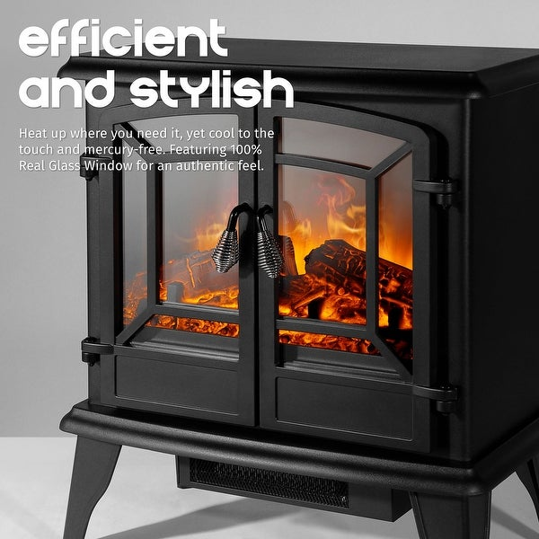 20 White Freestanding 2 Settings Logs Portable Electric Fireplace Indoor Heater Fireplaces Home Garden