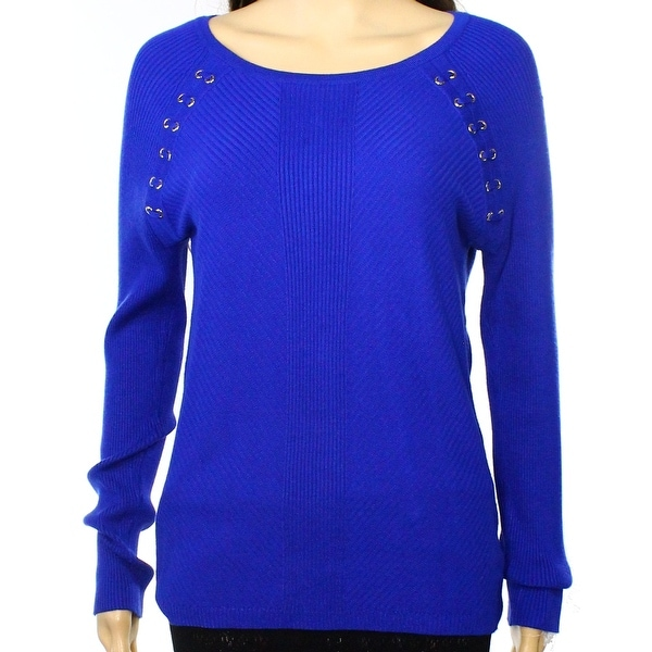 INC NEW Blue Women's Size Small S Ribbed Lace Long-Sleeve Sweater