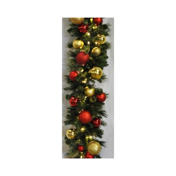 Christmas at Winterland WL-GARSQ-09-RG-LWW 9 Foot Pre-Lit Warm White LED Sequoia Garland Decorated with Red and Gold Ornaments