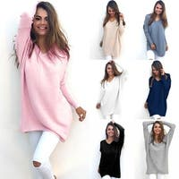 Women's Soft V-Neck Sweater (Asymmetrical Hem)