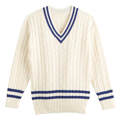 Floriana Mens V-Neck Cricket Sweater - Cable Knitted, Cream with Navy Stripes - White