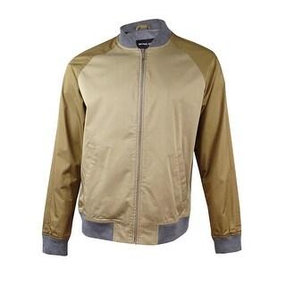 Michael Kors Men's Colorblocked Baseball Jacket (XL, Khaki) - Khaki - XL