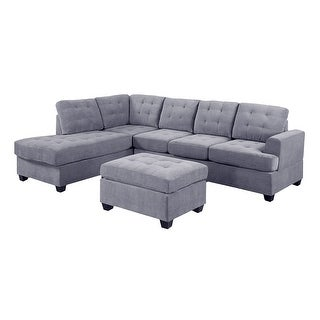 Link to 3 PC Reversible Microfiber Suede Sectional Sofa with Ottoman, Grey Similar Items in Living Room Furniture