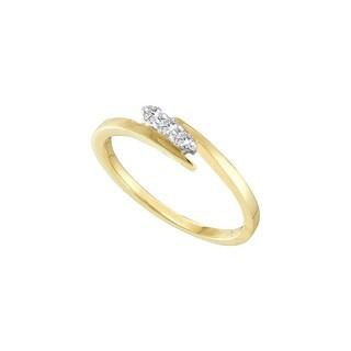 1/10Ctw Round Diamond Ladies Promise Ring Yellow-Gold 10K