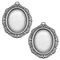 Antiqued Silver Plated Scroll Edge Oval Bezel Pendant Stampings 18x25mm (2)