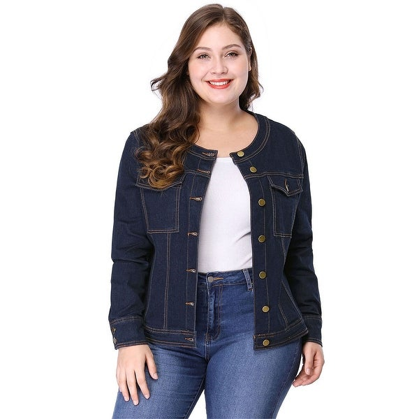 Women's Plus Size Long Sleeves Collarless Denim Jacket - Blue