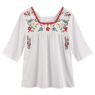 Women's Tunic Top - Embroidered Square-Neck Peasant Blouse - White