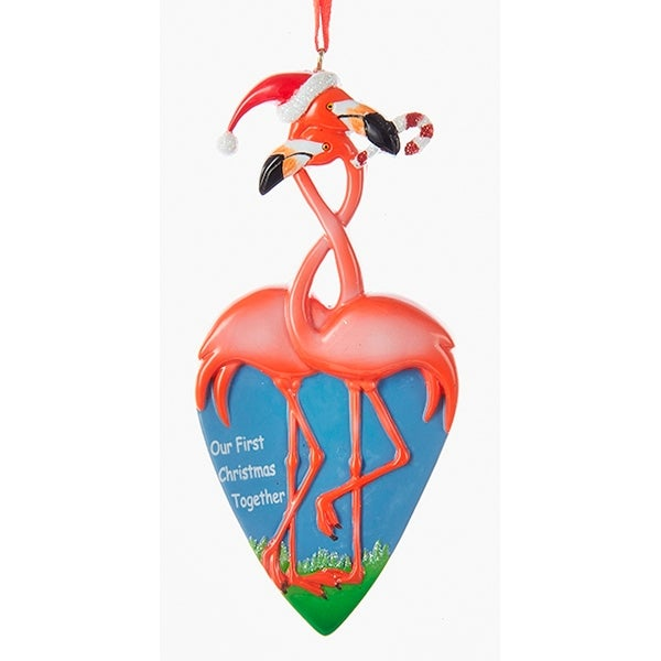 Kurt Adler Flamingo Couple Our First Together Holiday Ornament Resin