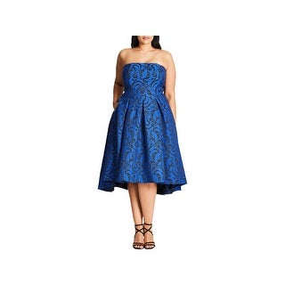 City Chic Womens Plus Evening Dress Jacquard Midi