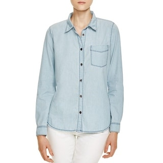 Sanctuary Womens Button-Down Top Chambray Tailored