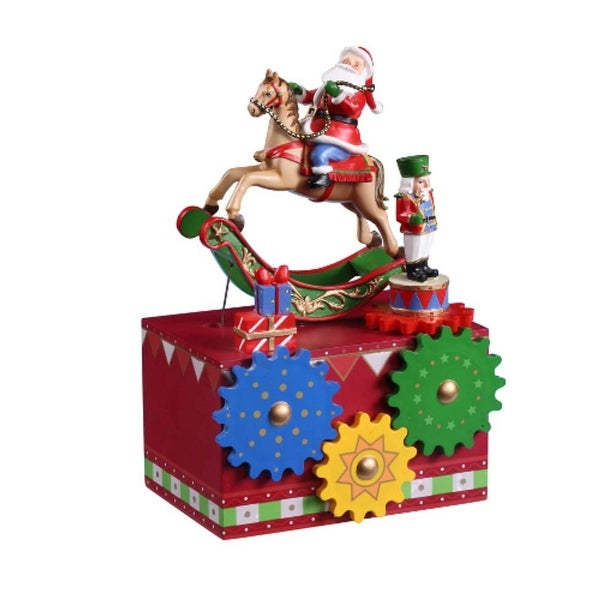 """Pack of 2 Icy Crystal Musical Santa Gear Box Figurines 8"""" - RED"""