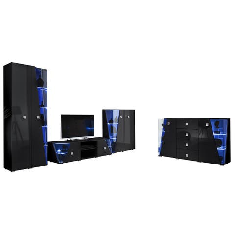 Edge Set TV-BK-CUR-SB Modern Wall Unit Entertainment Center