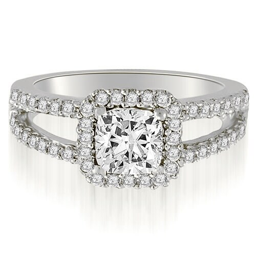 0.94 cttw. 14K White Gold Princess And Round Cut Diamond Engagement Ring