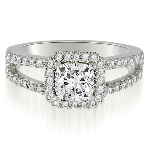 1.19 cttw. 14K White Gold Princess And Round Cut Diamond Engagement Ring