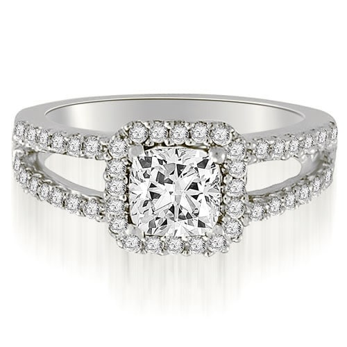 1.44 cttw. 14K White Gold Princess And Round Cut Diamond Engagement Ring