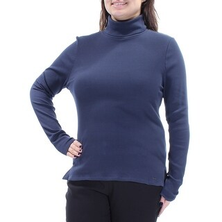 Womens Blue Long Sleeve Turtle Neck Casual Top Size XL